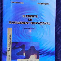 ELEMENTE DE MANAGEMENT EDUCATIONAL - LANGA , BULGARU , PARADIGME