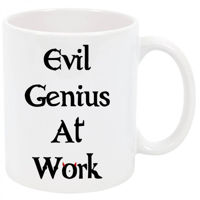 Cana personalizata Evil Genius at Work, ceramica alba, 325 ml