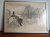 Tablou desen grafica penita Stig Allan Agroth reproducere printata Suedia