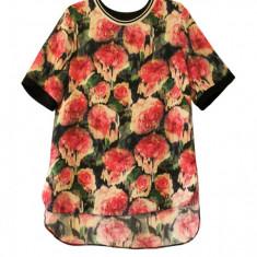 Bluza asimetrica cu imprimeu floral, de dama, Papaya, Alta, Maneca scurta, Casual