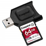 Kit Card de memorie Kingston Canvas React Plus 64GB MicroSDXC Clasa 10 + Card Reader USB Black