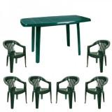 Set mobilier gradina masa MUTUM cu 6 scaune Jokei culoare verde B001004 Raki