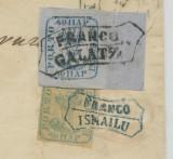 1858-CAP DE BOUR PE HARTIE AZURATA-FRANCO GALATZ., Stampilat