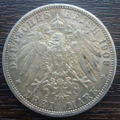 (A727) MONEDA DIN ARGINT GERMANIA, PRUSIA - 3 MARK 1909, LIT. A, WILHELM II