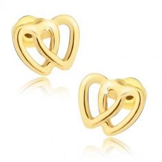 Cercei aurii, două contururi de inimă