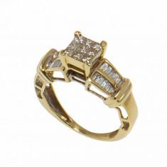 Inel din aur 14K cu diamante naturale, model de logodna, circumferinta 48 mm