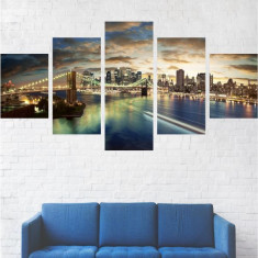 Set Tablouri Multicanvas 5 Piese, Peisaje, Podul Brooklyn - 80 x 150 cm (2 Piese 30x40 cm + 2 Piese 30x60 cm + 1 Piesa 30x80 cm)