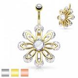 Piercing pentru buric, din oţel chirurgical, floare lată decorată cu zirconii mici - Culoare Piercing: Medena