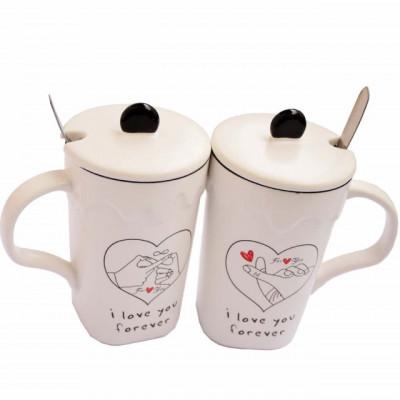Set 2 cani pentru ceai sau cafea cu lingurita si capac, Love you forever, 300 ml, ceramica foto