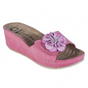 Saboti/Papuci MUBB roz din piele naturala platforma (cod 681-3)