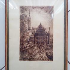 Gravura litografie veche Germania semnata