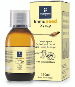 Immuneed Syrop - Sirop pentru gât iritat cu gust plăcut de Miere & Ghimbir 150ml