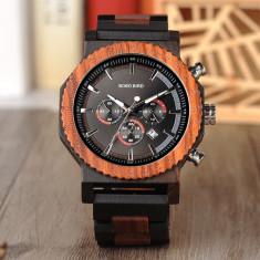 Ceas din lemn Bobo Bird cu curea din lemn, R15
