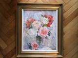 Tablou,pictura in ulei pe panza,vaza cu trandafiri,tehnica spaclu,semnat, Flori, Pastel, Altul