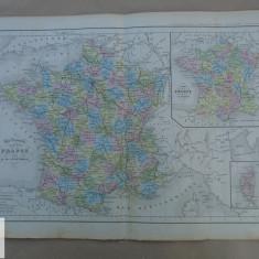 Harta color Franta 1900