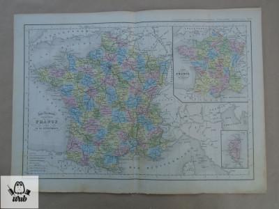 Harta color Franta 1900 foto