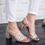 Sandale Iuderi argintii cu toc -rl