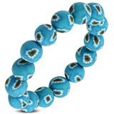 Brățară flexibilă FIMO, mărgele albastre și flori pe banda din cauciuc