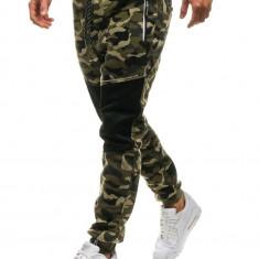 Pantaloni joggers sportivi pentru bărbat camuflaj-verzi Bolf QN274
