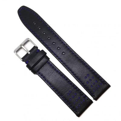 Curea de ceas din piele naturala - Neagra cu cusatura albastra - 18mm, 20mm - WZ3655 foto