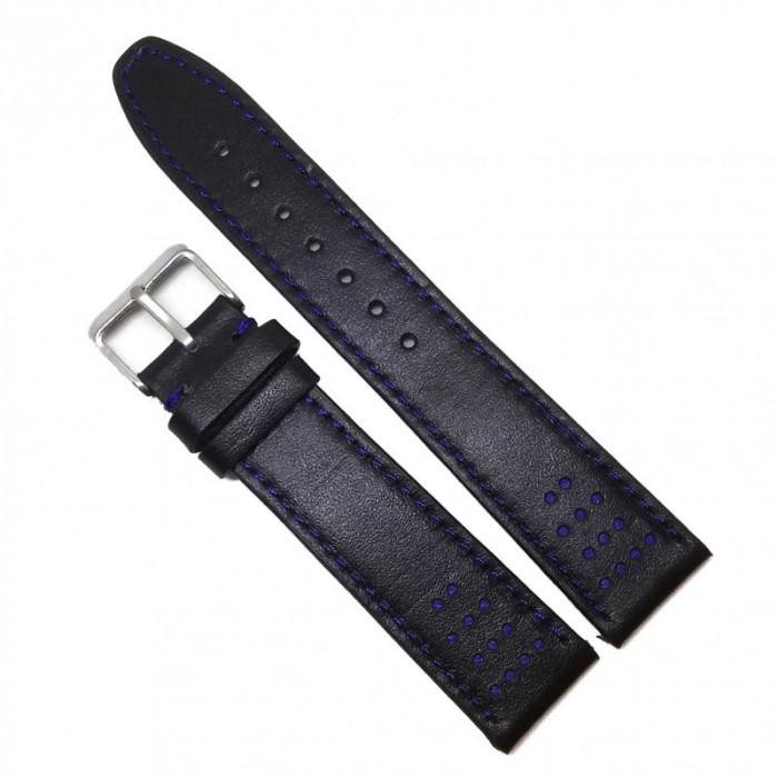 Curea de ceas din piele naturala - Neagra cu cusatura albastra - 18mm, 20mm - WZ3655