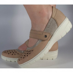 Pantofi platforma bej Reflexan piele naturala (cod 21610-23)