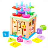 Cub educativ multifunctional 5 in 1, coloane sortatoare.