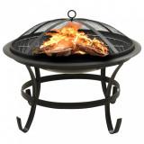 Vatră de foc și grătar cu vătrai 2-în-1, 56x56x49 cm, oțel, vidaXL