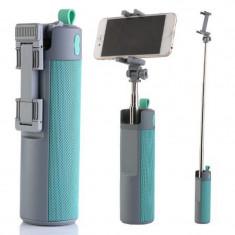 Boxa portabila 3 in1 cu selfie stick si powerbank, 10 W, Gri/Turcoaz