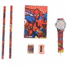 Set ceas, pentru copii, cu SpiderMan, caiet si rechizite cadou - 5020604