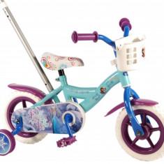 Bicicleta pentru fete 10 inch cu maner roti ajutatoare si cosulet Frozen
