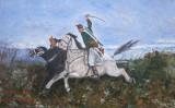 Tablou / Pictura calareti semnat Cimpoesu., Scene lupta, Ulei, Realism