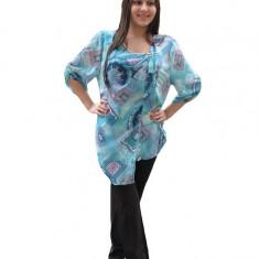 Bluza fashion cu lungime asimetrica, masura mare, nuanta turcoaz