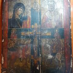 Icoana foarte veche pictata pe lemn din 2 bucati-aproximati 300  de ani vechime