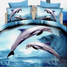 Lenjerie de pat dublu bumbac Print Dolphins, 220x230 cm