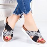 Papuci Milasa negri cu alb