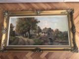 Tablou,pictura franceza in ulei pe panza,peisaj,dimensiuni mari,semnat