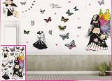 Sticker decorativ 5D Paris,fluturi colorati + Cadou set Stiker fosforescente