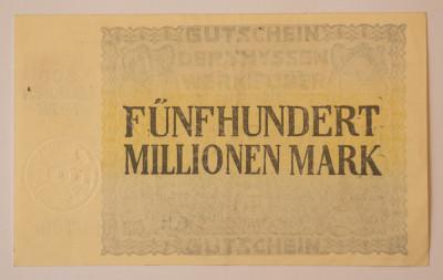 500 millionen/ milioane, 1923 Notgeld Germania foto
