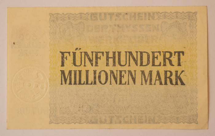 500 millionen/ milioane, 1923 Notgeld Germania