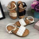 Cumpara ieftin Sandale albe elegante cu aplicatii aurii pt fetite 25 26 27 30 31 32