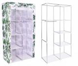 Dulap din material textil Mira Monstera, pentru depozitare incaltaminte, imbracaminte sau accesorii, cadru metalic, 6 rafturi