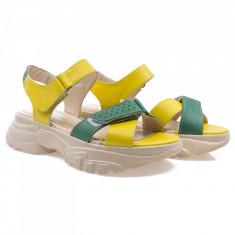 Sandale dama din piele naturala Caspian Cas-Nancy-Galben