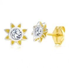 Cercei din aur de 14 K - o floare bicoloră cu petale ascuțite și un zirconiu