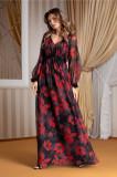 Rochie Leonard Collection neagra lunga din voal cu flori rosii, S