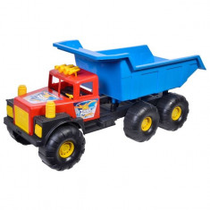 Camion de mari dimensiuni pentru constructii, model basculanta, multicolor, 62x26x28 cm
