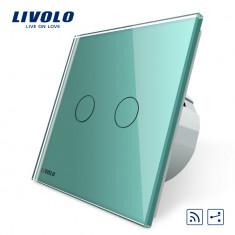 Intrerupator dublu cap scara / cap cruce wireless Livolo din sticla, Verde