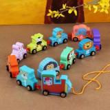 Trenulet din lemn animale