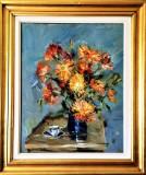 Pictura Tablou Dumitru Icodin ,,Natura Statica - Vaza cu flori si ceasca''