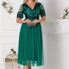 Rochie Moze verde din dantela cu fusta din tull
